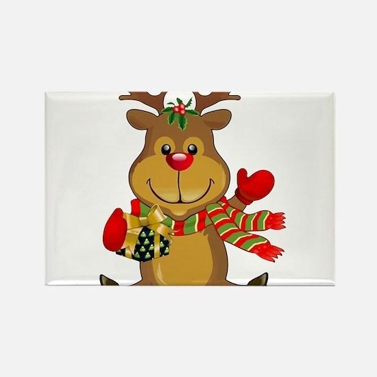 Sitting Reindeer w Package Scarf Magnets