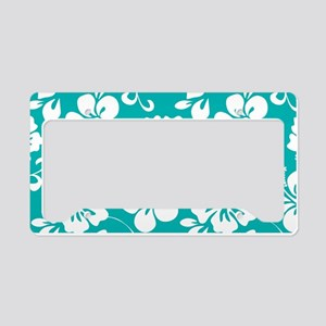 Turquoise Hawaiian Hibiscus License Plate Holder