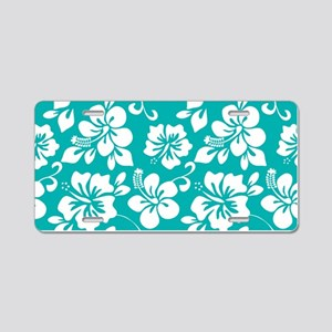Turquoise Hawaiian Hibiscus Aluminum License Plate