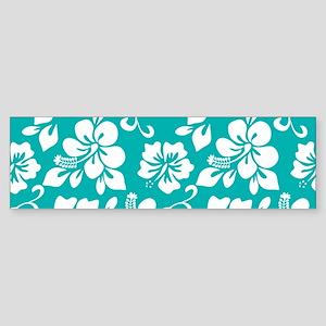 Turquoise Hawaiian Hibiscus Bumper Sticker