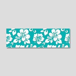 Turquoise Hawaiian Hibiscus Car Magnet 10 x 3