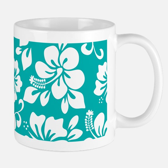 Turquoise Hawaiian Hibiscus Mugs