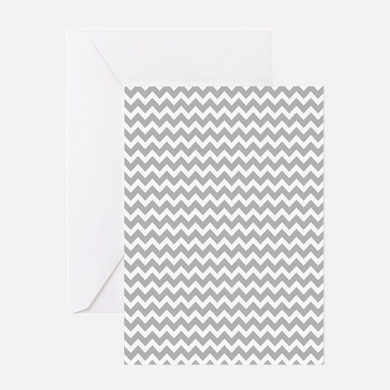 Chevrons White Lt Gray 5x7 Greeting Cards
