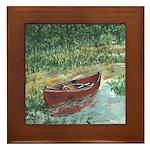 REd Canoe Art Framed Tile