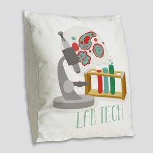 Lab Tech Burlap Throw Pillow
