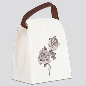 Sketched Roses Canvas Lunch Bag