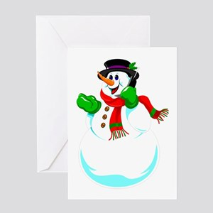 Snowman On A Cell Phone Greeting Cards