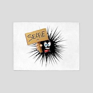 Selfie Fun Cartoon Face 5'x7'Area Rug