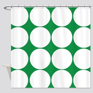 Giant Green Dots Shower Curtain