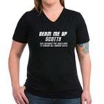 Beam Me Up Scotty Women's V-Neck Dark T-Shirt
