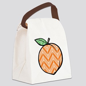 Chevron Peach Canvas Lunch Bag