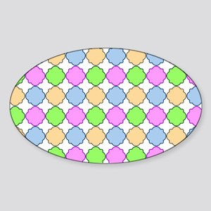 Colorful Morrocan Quatrefoil Patter Sticker (Oval)
