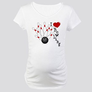 I Love Bowling Maternity T-Shirt
