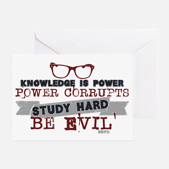 Study Hard Be Evil Greeting Cards