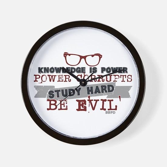 Study Hard Be Evil Wall Clock