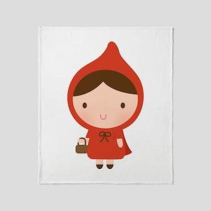 Cute Little Red Riding Hood Girl Throw Blanket