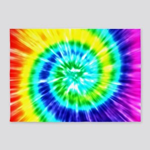 Rainbow Tie Dye 5'x7'Area Rug