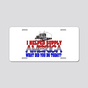 Helped Supply America Trucker Aluminum License Pla