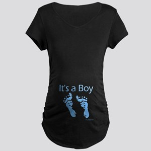 It's a  Boy Baby Feet Maternity Dark T-Shirt
