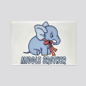 Blue Elephant Middle Brother Rectangle Magnet