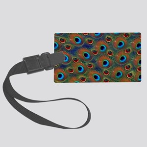 Blue And Red Eye Peacock Pattern Luggage Tag