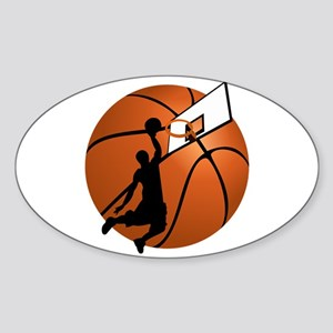 Slam Dunk Basketball Player w/Hoop on Ball Sticker