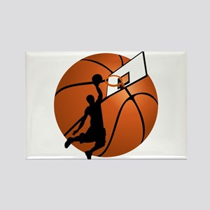 Slam Dunk Basketball Player w/Hoop on Ball Magnets