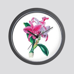 Tropical Pink Cattleya Orchid by Loudon Wall Clock