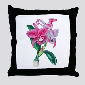 Tropical Pink Cattleya Orchid by Loud Throw Pillow