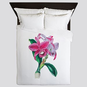 Tropical Pink Cattleya Orchid by Loudo Queen Duvet
