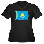 Kazakhstan Flag Women's Plus Size V-Neck Dark T-Sh