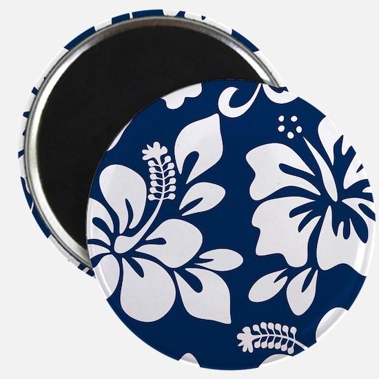 Navy Blue Hawaiian Hibiscus Magnets