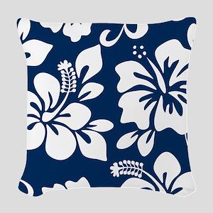 Navy Blue Hawaiian Hibiscus Woven Throw Pillow