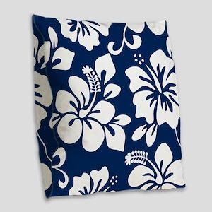Navy Blue Hawaiian Hibiscus Burlap Throw Pillow