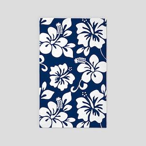 Navy Blue Hawaiian Hibiscus 3'x5' Area Rug