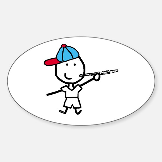 Boy & Flute Oval Decal