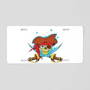 Pirate Skull and Swords Aluminum License Plate