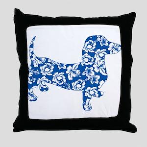 Hawaiian Dachshund Doxie Throw Pillow