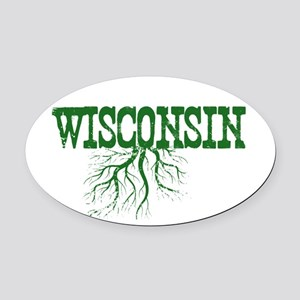Wisconsin Roots Oval Car Magnet