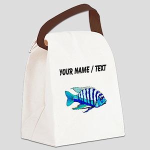 Custom Blue Striped Cichlid Canvas Lunch Bag