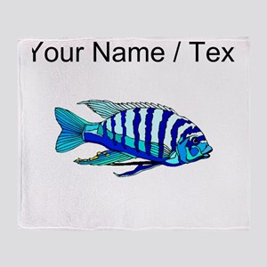 Custom Blue Striped Cichlid Throw Blanket