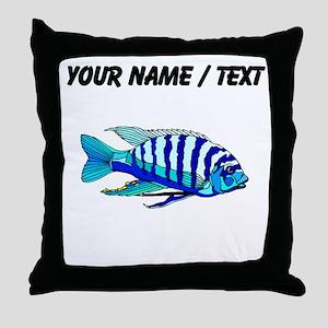 Custom Blue Striped Cichlid Throw Pillow