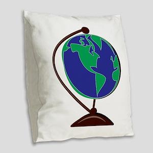 Desk Globe Burlap Throw Pillow