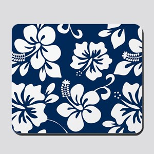 Navy Blue Hawaiian Hibiscus Mousepad