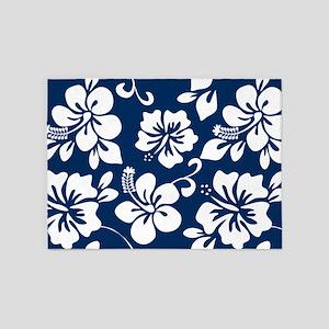 Navy Blue Hawaiian Hibiscus 5'x7'Area Rug