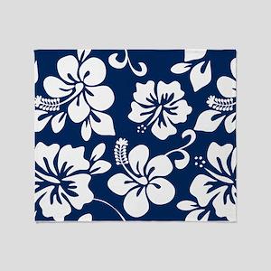 Navy Blue Hawaiian Hibiscus Throw Blanket