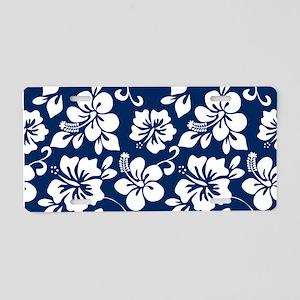 Navy Blue Hawaiian Hibiscus Aluminum License Plate