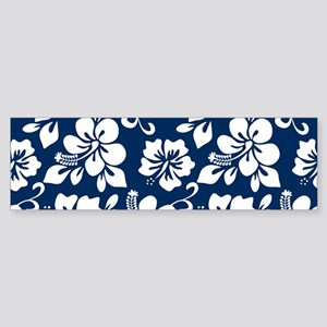 Navy Blue Hawaiian Hibiscus Bumper Sticker