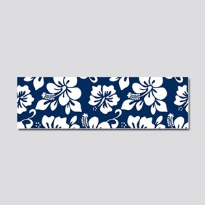 Navy Blue Hawaiian Hibiscus Car Magnet 10 x 3