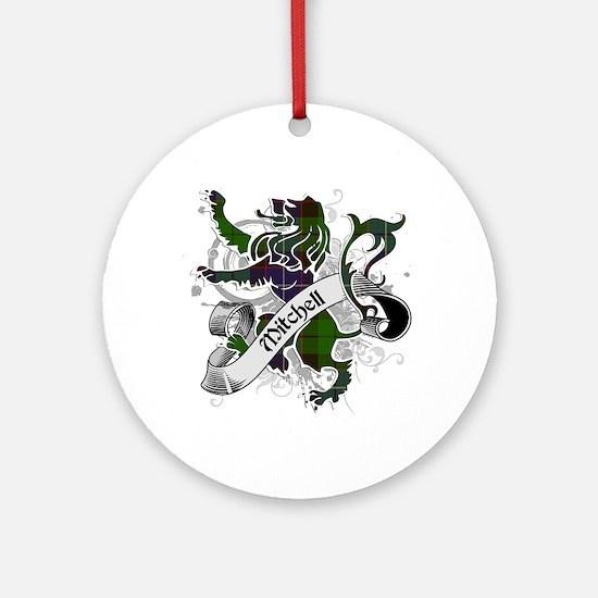 Mitchell Tartan Lion Ornament (Round)